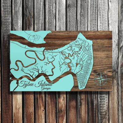 Tybee Island GA Wooden Map, Nautical beach house decor, Wall Art