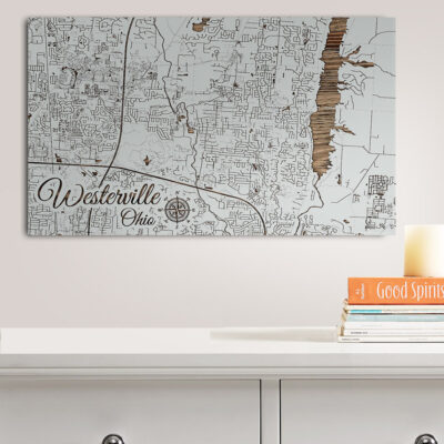 Westerville, Ohio Street Map, Wooden Wall Map, Laser Engraved Wood Map, Nautical Wood Chart