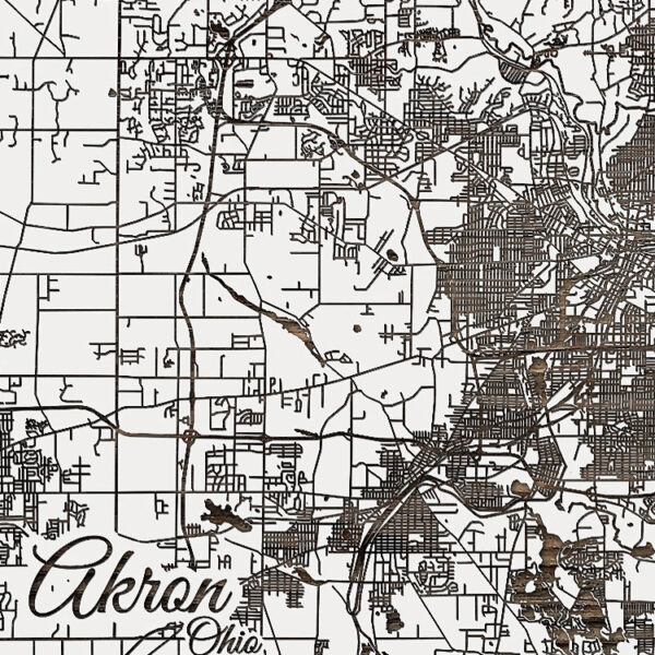 Akron Ohio Street Map, Wooden Wall Map, Laser Engraved Wood Map, Nautical Wood Chart