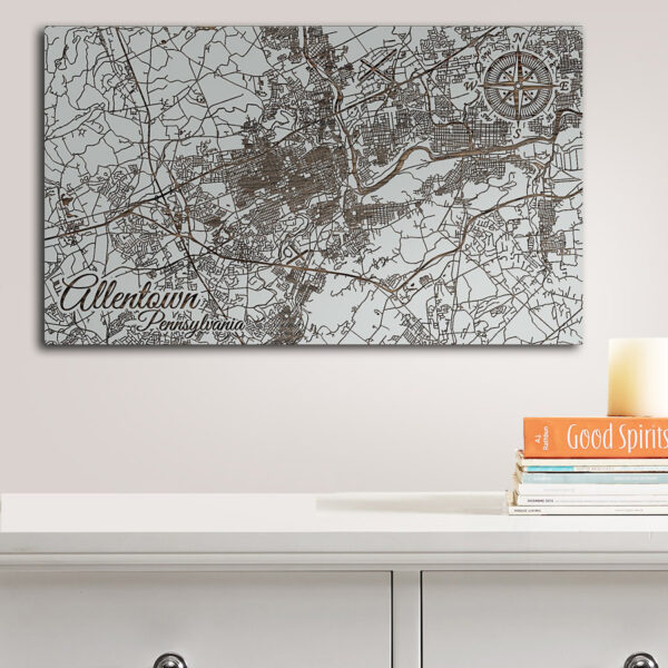 Allentown, Pennsylvania Street Map, Wooden Wall Map, Laser Engraved Wood Map, Nautical Wood Chart