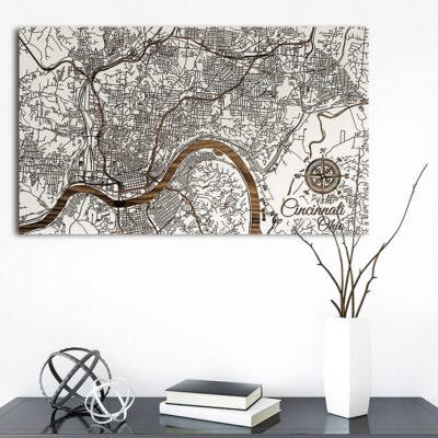 Cincinnati, Ohio Street Map, Wooden Wall Map, Laser Engraved Wood Map, Nautical Wood Chart