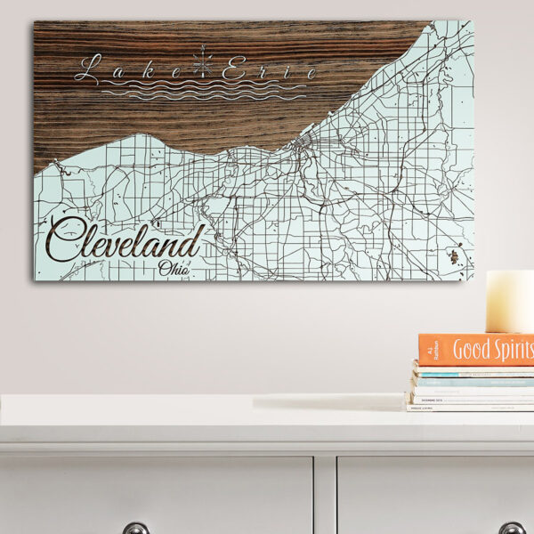 Cleveland OH Lake Erie, Wooden Wall Map, Laser Engraved Wood Map, Nautical Wood Chart