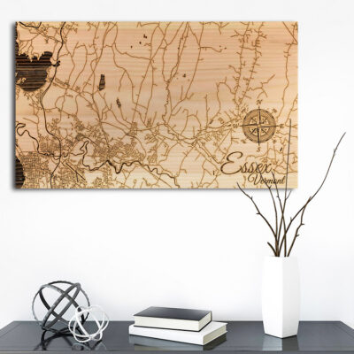 Essex, Vermont Street Map, Wooden Wall Map, Laser Engraved Wood Map, Nautical Wood Chart
