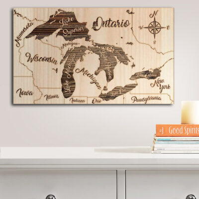 Great Lakes Map, Nautical Wood Maps, laser carved