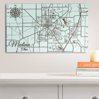 Medina, Ohio Street Map, Wooden Wall Map, Laser Engraved Wood Map, Nautical Wood Chart