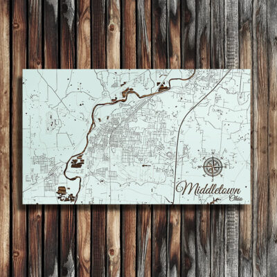 Middletown, Ohio Street Map, Wooden Wall Map, Laser Engraved Wood Map, Nautical Wood Chart