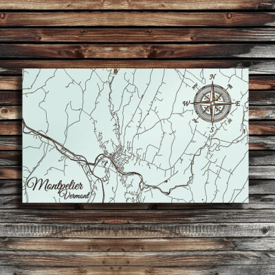 Montpelier, Vermont Street Map, Wooden Wall Map, Laser Engraved Wood Map, Nautical Wood Chart