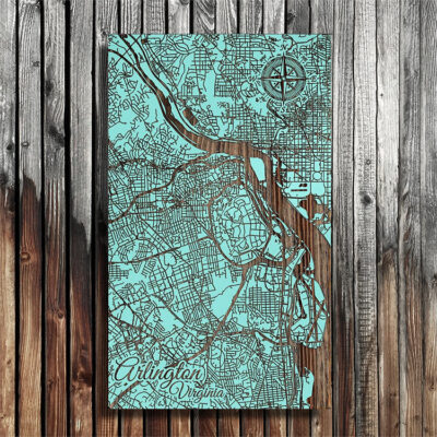 Arlington VA Washington DC Map, Wooden Wall Map, Laser Carved Street Map