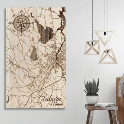 Auburn Maine Map, Nautical Wood Map, Laser Carved wall art