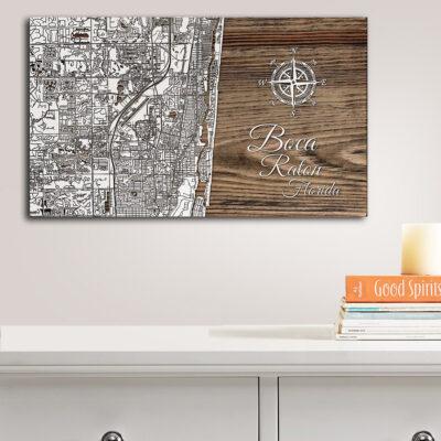 Boca Raton Map, Wooden Wall Map, Boca Raton Art, Nautical Decor