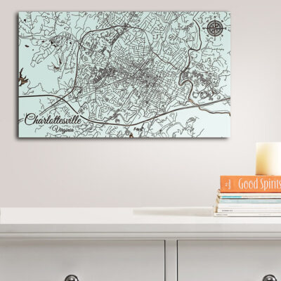Charlottesville Virginia Map, Street Map, Wall Decor, Wooden Sign