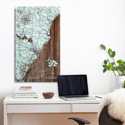Coast of South Carolina Map, Wood Carved Wall Map of South Carolina Beaches, Myrtle, Hilton Head
