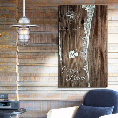 Cocoa Beach FL Map, Nautical Decor, Wooden Wall Map, Beach House Decor, Florida