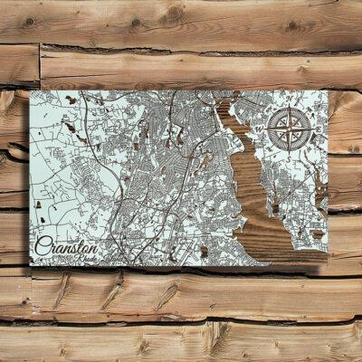 Cranston, Rhode Island Street Map, Wall Art, Laser Carved Wall Map