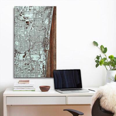 Ft Lauder Dale Nautical Wood Map, Beach House Decor, Wall Art