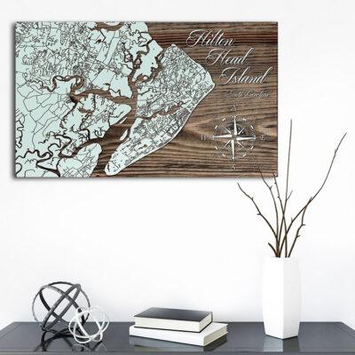 Hilton Head Wood Map, Laser Carved Maps, South Carolina