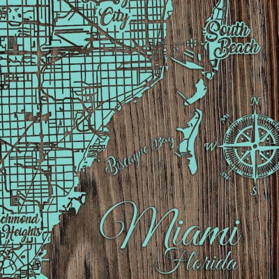 Miami Florida Map, Wooden Map, Wall Art, Nautical Chart