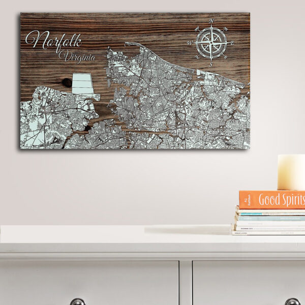 Norfolk Virginia Wood Map, Wall Decor, Laser Carved Wooden Map