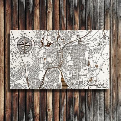 Pawtucket, Rhode Island Street Map, Wooden Wall Map, Nautical Wall Art, Laser Carved Sign