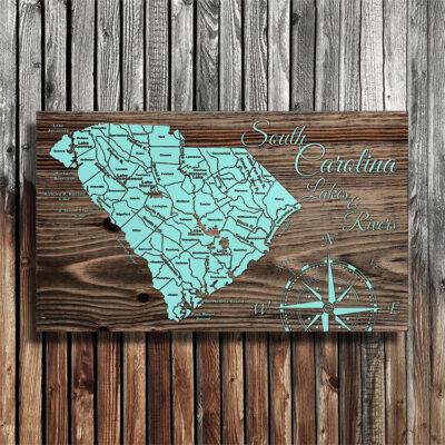 Map of South Carolina Lakes and Rivers, Wall Art, Lake House Decor, 3D Maps