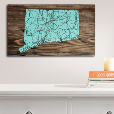 Connecticut Map, Wooden Sign of Connecticut, Laser Carved Wall Art
