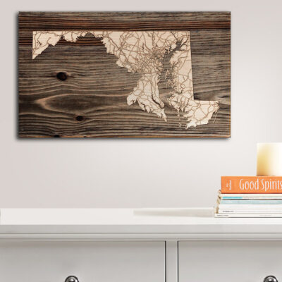 State of Maryland Wood Map, Laser Carved Wall Sign, Wooden Maps of Maryland