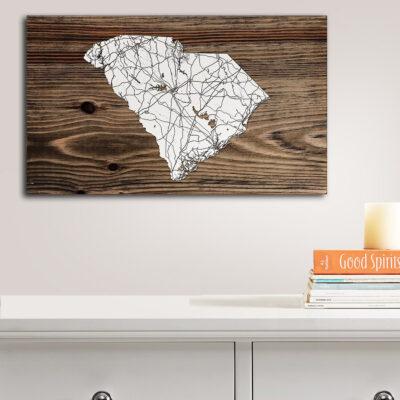 South Carolina Wood Map, Wall Art, Wood Carved map of SC