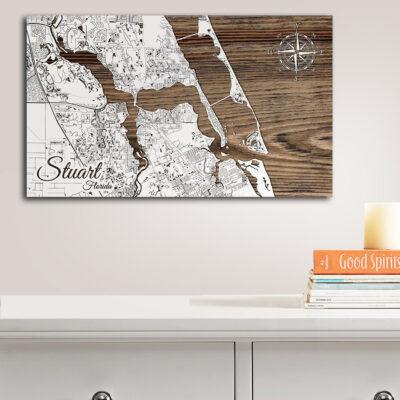 Stuart FL Wood Map, Nautical Decor, Nautical Wood Map
