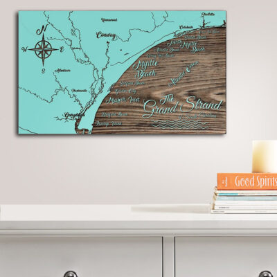 Grand Strand Myrtle Beach Wooden Map, Nautical Decor, Wood Map Wall Art, SC Beaches
