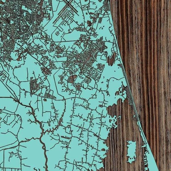 Virginia Beach Map, Virginia Beach Wall Sign, Nautical Art, Laser Carved Wood Map