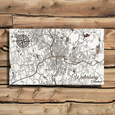 Waterbury CT Map, Wood Wall Map, Laser Carved Wall Art