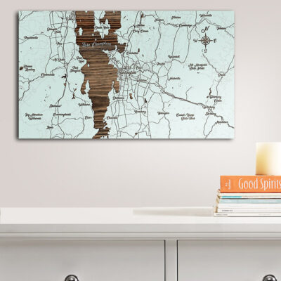 Burlington, Vermont Whimsical Map, Wooden Wall Map, Laser Engraved Wood Map, Nautical Wood Chart
