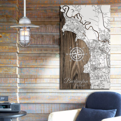 Burlington, Street Map, Wooden Wall Map, Laser Engraved Wood Map, Nautical Wood Chart