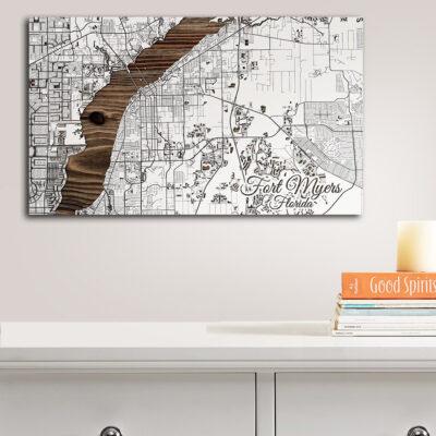 Fort Meyers Street Map, Wall Art, Wooden Wall Sign, Florida