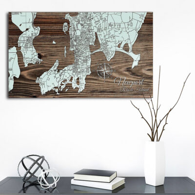 Newport Rhode Island Map, Wall Decor, Wooden Wall Map, Nautical Laser Carved Map