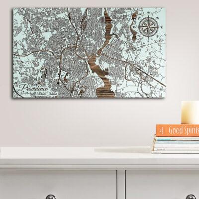 Providence, Rhode Island Street Map, Wooden Wall Map, Nautical Wall Art, Providence RI Sign