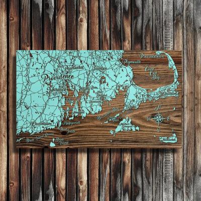 Rhode Island, Cape Cod, Nantucket, Martha's Vineyard Map, Nautical Decor, Laser Carved Wooden Map