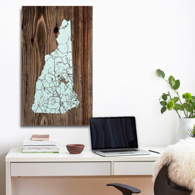 State of New Hampshire Wood Map, Laser Carved Wall Art, Wooden NH Map