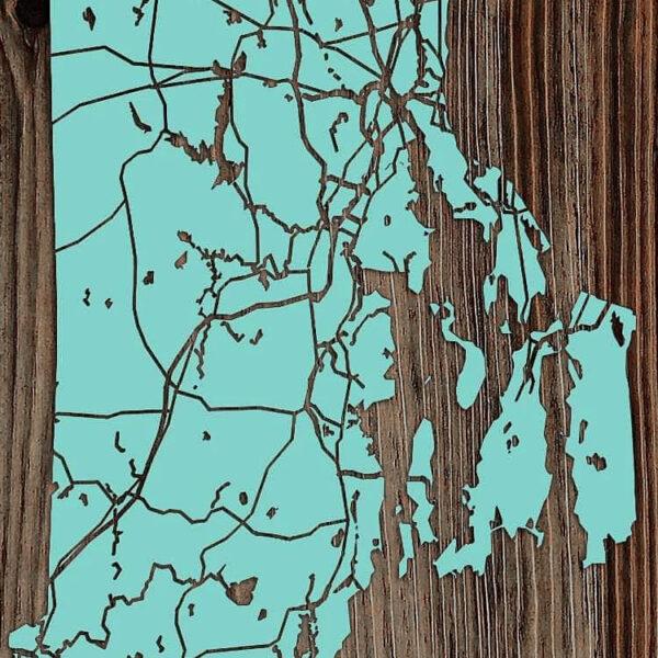 Rhode Island Map, Wooden Wall Map, Laser Cut Engraved Rhode Island Sign