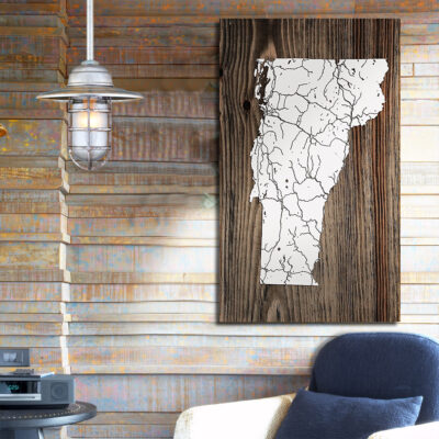 State of Vermont, Wooden Wall Map, Laser Engraved Wood Map, Nautical Wood Chart