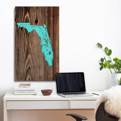 State of Florida Map, Florida Poster, Wooden Wall map of Florida, Home Decor