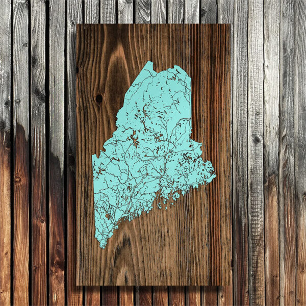 State of Maine Map, Laser engraved wall map, Solid Wood Map, Home Decor