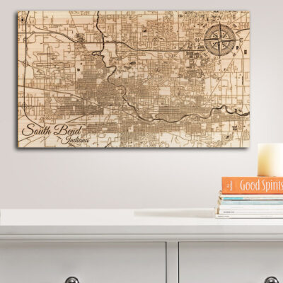 South Bend IN Map, Wall Art, Wooden Map