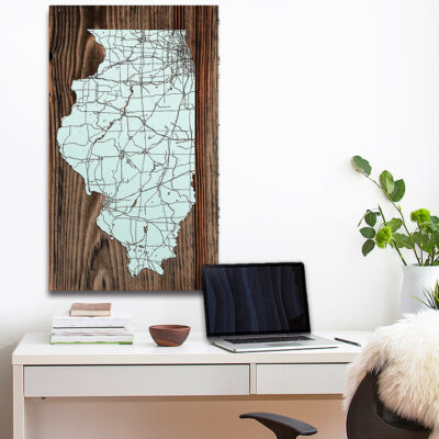 State of Illinois Wooden Map, Laser Cut Wood Wall Sign