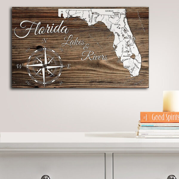 State of Florida Map of Lakes and Rivers, Wooden Map, Nautical Decor, Wall Art, Unique Florida Home Decor