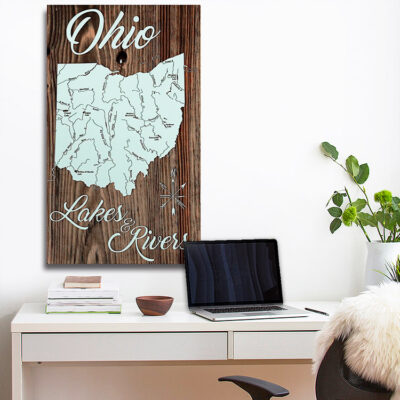 Ohio Lakes & Rivers, Wooden Wall Map, Laser Engraved Wood Map, Nautical Wood Chart