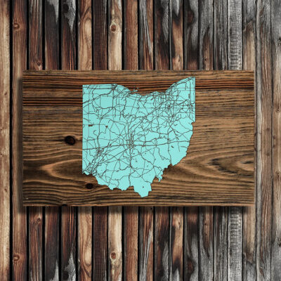 State of Ohio Map, Wooden Wall Map, Laser Engraved Wood Map, Nautical Wood Chart