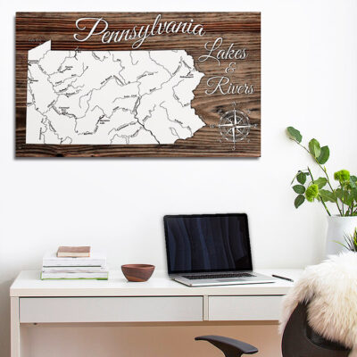 Pennsylvania Lakes & Rivers Wooden Wall Map, Laser Engraved Wood Map, Nautical Wood Chart