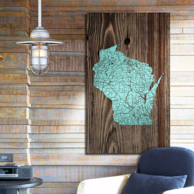 Wisconsin Isolated Map, State Map, Wooden Wall Art, Laser Carved Wood Map