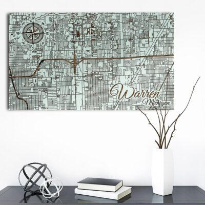 Warren Michigan Map, Wooden Wall Map